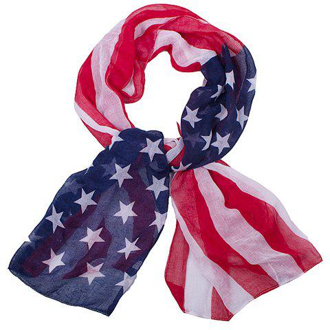 Chic Hemming American Flag Printing Voile Scarf For Women - DEEP BLUE