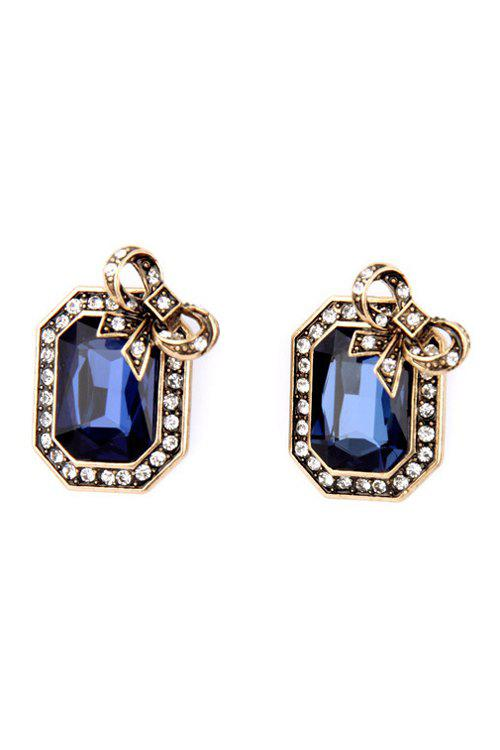 Pair of Retro Faux Crystal Rectangle Earrings For Women - SAPPHIRE BLUE