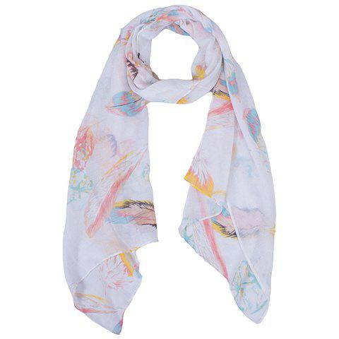 Chic Hemming Colorful Feather Printing Voile Scarf For Women - WHITE
