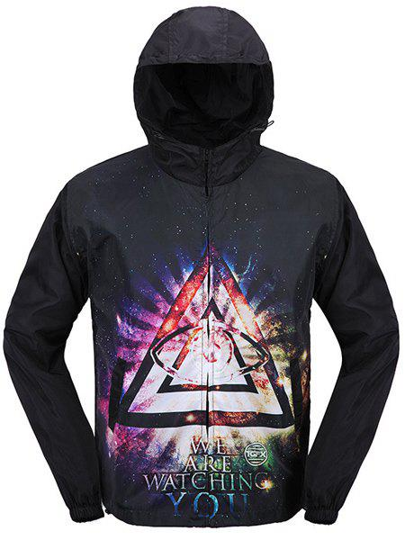 Zipper Triangle Letter Printed Hooded Coat For Men - BLACK XL