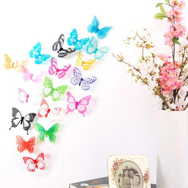 18PCS High Quality Removeable Colorful Butterfly Shape DIY 3D Background Wall Sticker - COLORMIX
