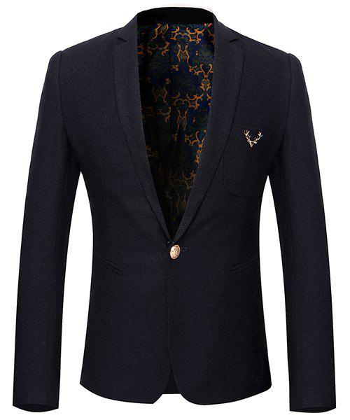 Simple Style Turn-Down Collar Solid Color Long Sleeve Men's Blazer - BLACK L