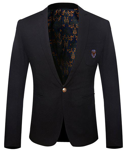 Turn-Down Collar Embroidery Pattern Solid Color Long Sleeve Men's Blazer - BLACK M