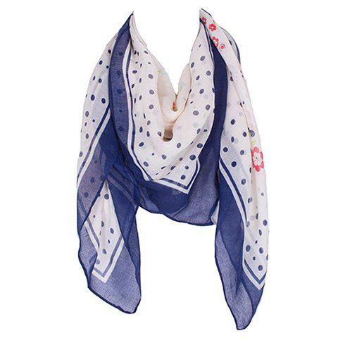 Chic Hemming Floral and Polka Dot Printing Square Shape Scarf For Women - NAVY BLUE