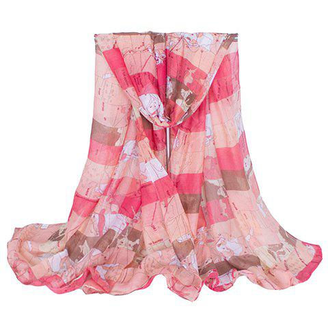 Chic Hemming Wide Striped and World Map Printing Voile Scarf For Women - PINK