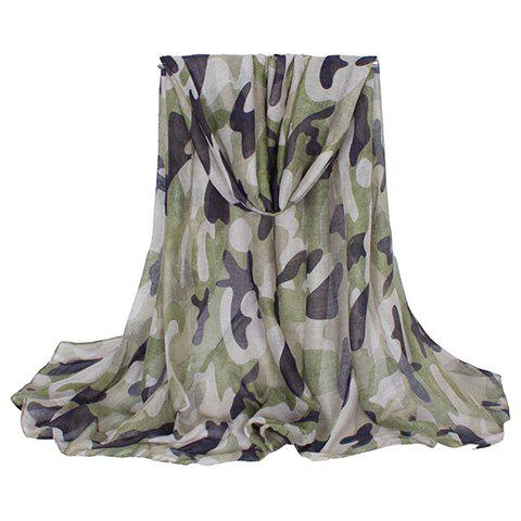 Chic Hemming Camouflage Printing Voile Scarf For Women - ARMY GREEN