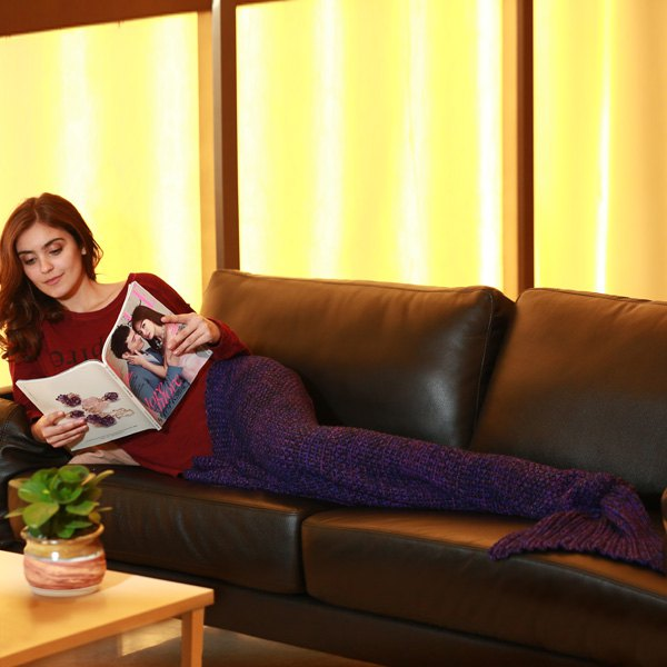 Stylish Artist Playfully Redesigns Cozy Blankets As Crocheted Mermaid Tails - PURPLE W31.50INCH*L70.70INCH