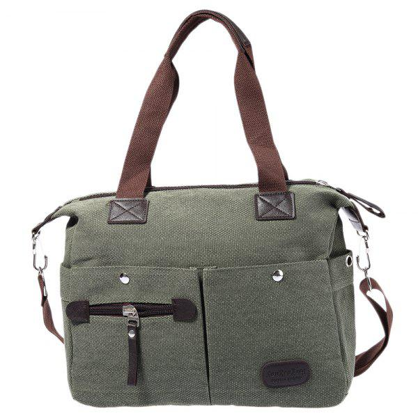 Large Capacity Women Casual Style Canvas Tote Belt Decoration Shoulder Bag - ARMY GREEN
