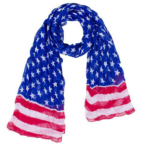 Fashionable Hemming Stars and Stripes Printing Voile Scarf For Women -  BLUE
