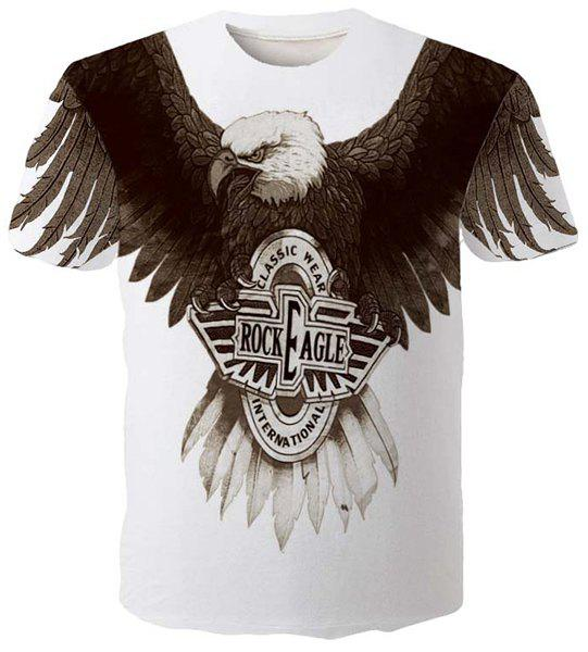 Fashion Round Neck 3D Eagle Print Slimming Men's Short Sleeves T-Shirt - WHITE M
