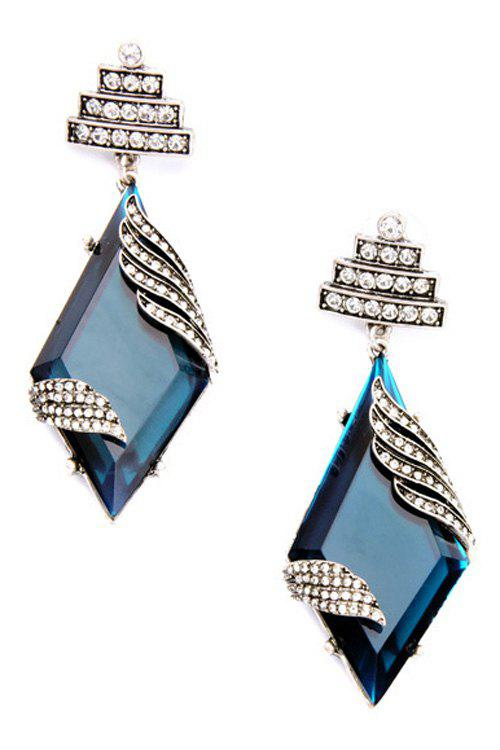 Pair of Charming Rhombus Faux Sapphire Earrings For Women