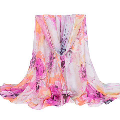 Chic Ethnic Colorful Floral Printing Voile Scarf For Women - ORANGE
