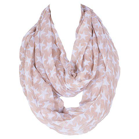 Fashionable Hemming Five-Pointed Star Printing Voile Bib Scarf For Women
