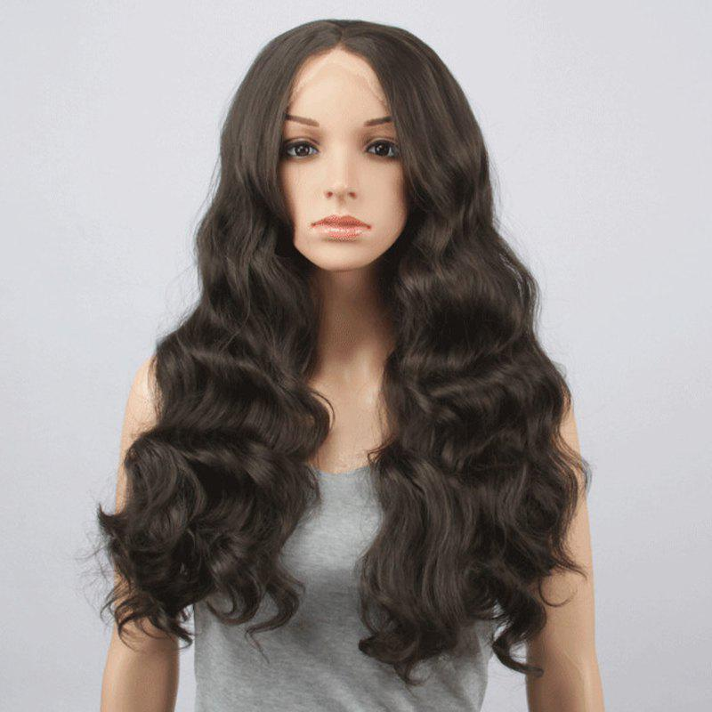 Fluffy Body Wavy Black Brown Synthetic Charming Long Centre Parting Lace Front Wig For Women