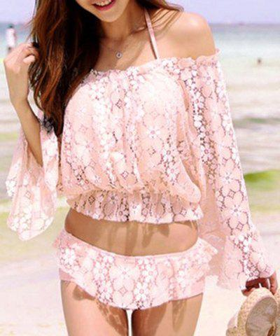 Cute Halter Lace Ruffled Three-Piece Swimsuit For Women - PINK M