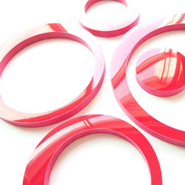 5PCS High Quality Removeable Circle Shape DIY 3D Background Wall Sticker - RED