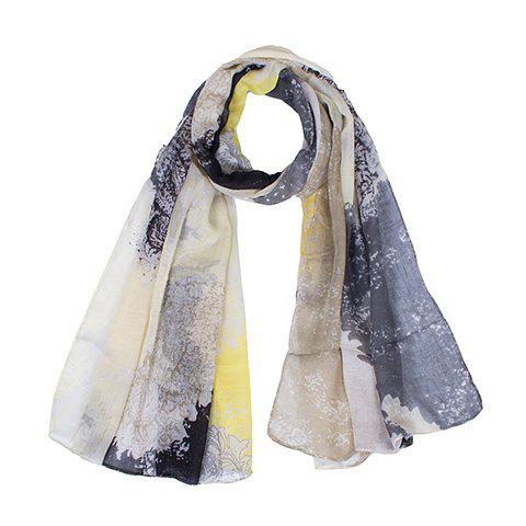 Chic Hemming Paisley Printing Voile Scarf For Women - SMOKY GRAY
