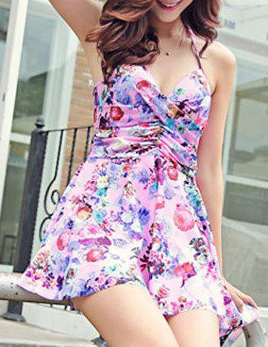 Sexy Halter Asymmetrical Floral Print Two-Piece Women's Swimsuit - PINK XL