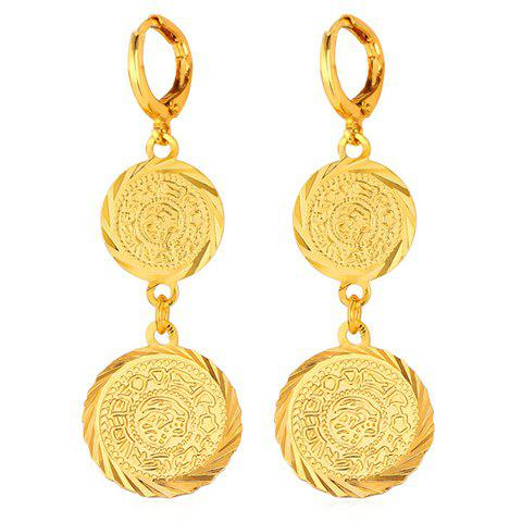 Pair of Vintage Solid Color Coins Earrings For Women