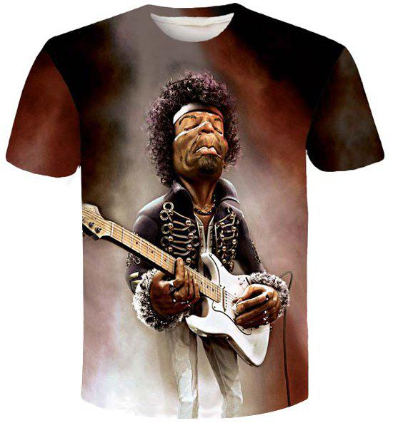 Personality Singer Print Slim Fit Round Neck Short Sleeves Men's 3D T-Shirt