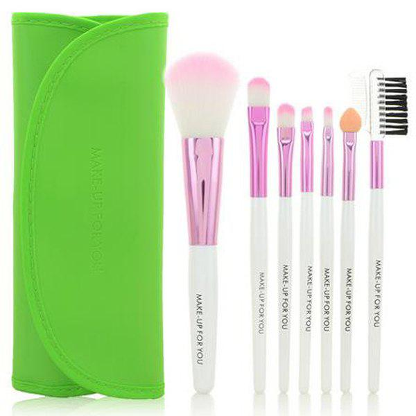 Cosmetic 7 Pcs Germproof Fiber Makeup Brushes Set with PU Leather Brush Bag - APPLE GREEN