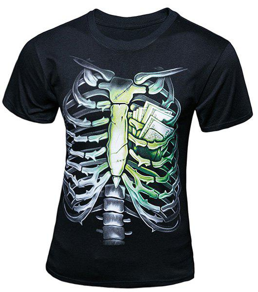 Stylish Round Neck 3D Skeleton Pattern Short Sleeve Men's T-Shirt - BLACK L