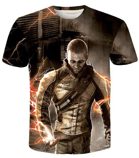 New Style Round Neck 3D Warrior Print Short Sleeves Men's Slim Fit T-Shirt - COLORMIX L