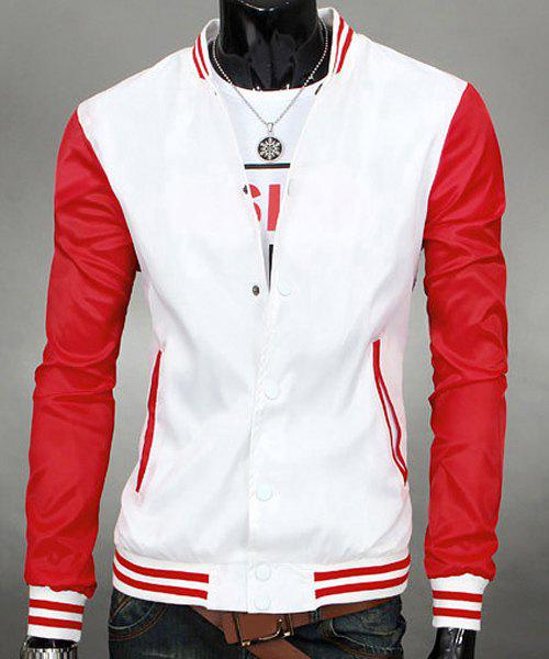 Stand Collar Color Block Long Sleeves Jacket For Men