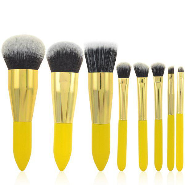 Cosmetic 8 Pcs Lemon Yellow Germproof Fiber Makeup Brushes Set - LEMON YELLOW