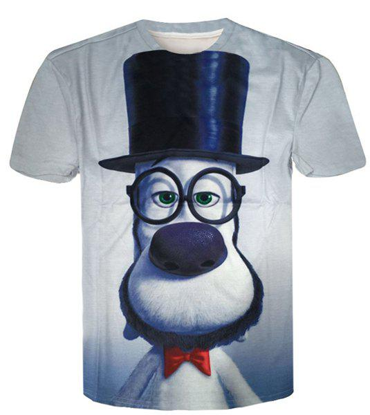 Casual Round Neck Funny 3D Cartoon Print Slimming Men's Short Sleeves T-Shirt - COLORMIX M