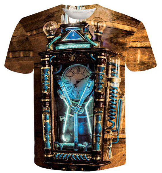 Cool Ancient Clock 3D Printed Round Neck Short Sleeves Men's Slim Fit T-Shirt - XL COLORMIX