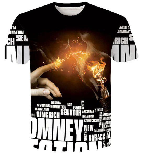 Letters Hand Flame 3D Printed Round Neck Short Sleeves Men's Slim Fit T-Shirt - BLACK M