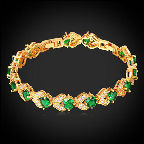 Rhinestoned Hollow Out Bracelet - GOLDEN