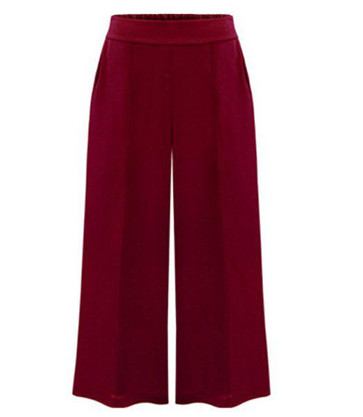 Trendy Pure Color Wide Leg Pants For Women - RED XL