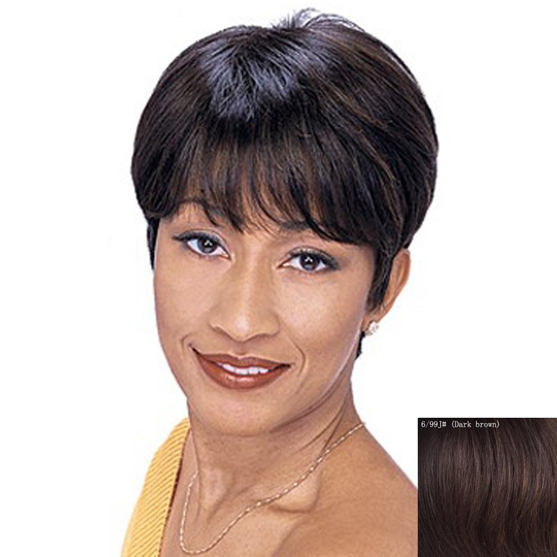 Human Hair Capless Shaggy Ultrashort Wig For Women - DARK BROWN