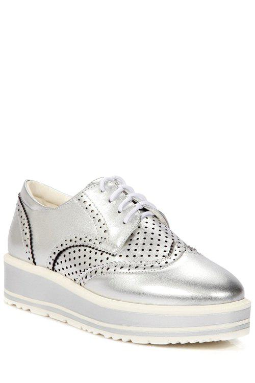 Leisure Openwork and Lace-Up Design Platform Shoes For Women - SILVER 38