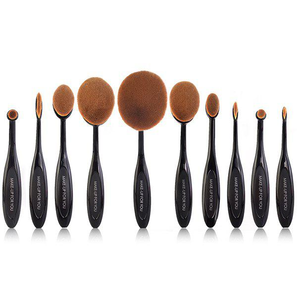 Cosmetic Multipurpose 10 Pcs ToothBrush Shape Fine Fiber Makeup Brushes Set with Gift Box