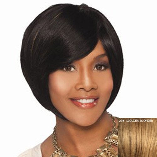 Shaggy Side Bang Capless Human Hair Short Wig For Women - GOLDEN BLONDE