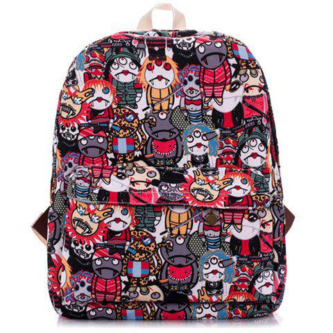 Fashion Printed and Canvas Design Backpack For Women - RED