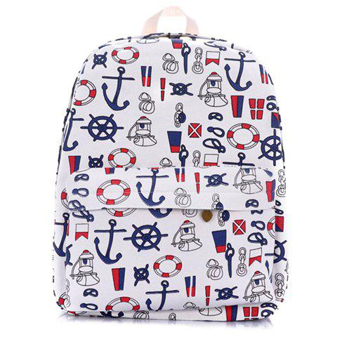 Casual Canvas and Printed Design Backpack For Women - WHITE
