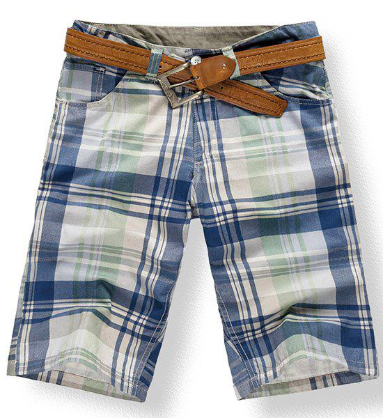 Fashionable Straight Leg Plaid Print Zipper Fly Men's Shorts - CHECKED 38
