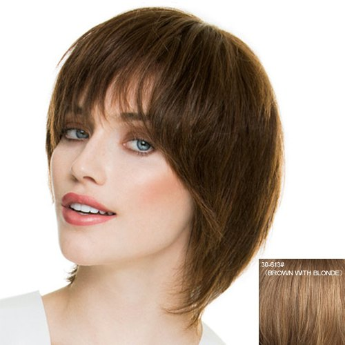 Fashion Side Bang Capless Human Hair Straight Wig For Women - BROWN/BLONDE