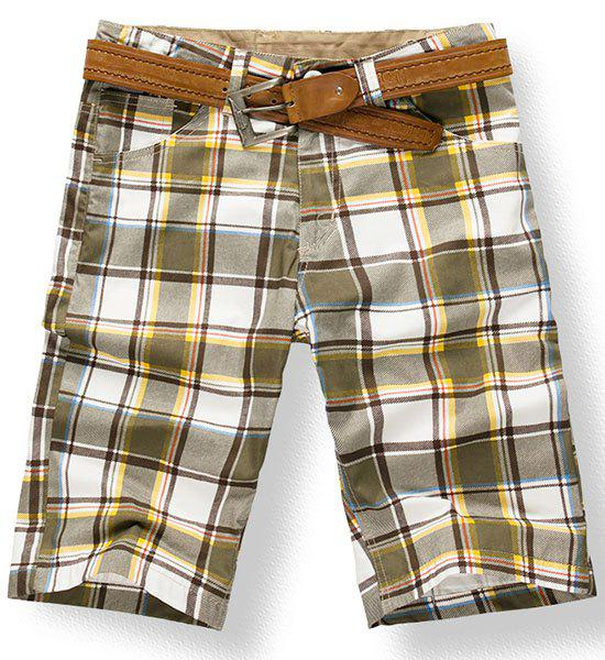 Fashionable Straight Leg Tartan Printing Zipper Fly Men's Shorts - CHECKED 34