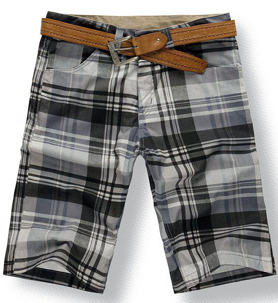 Fashionable Straight Leg Checked Zipper Fly Men's Shorts - CHECKED 29