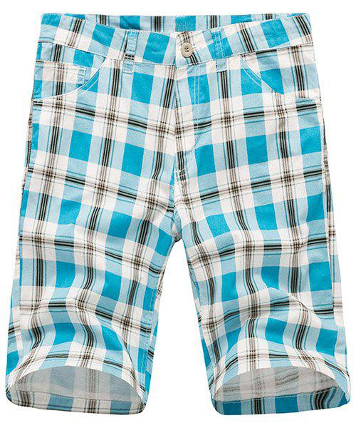Stylish Straight Leg Checked Zipper Fly Men's Shorts