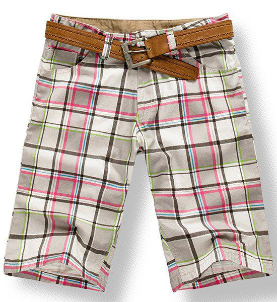 Fashionable Straight Leg Checked Print Zipper Fly Men's Shorts - CHECKED 36