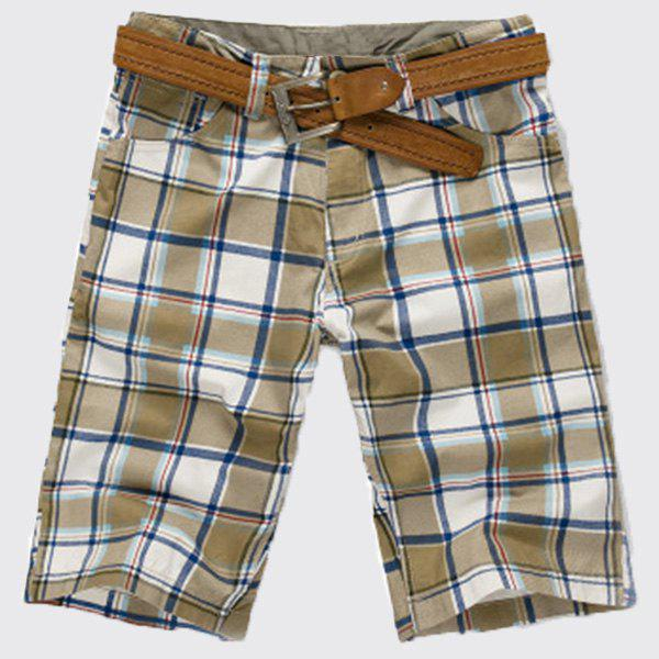 Stylish Straight Leg Checked Printing Zipper Fly Men's Shorts - CHECKED 32