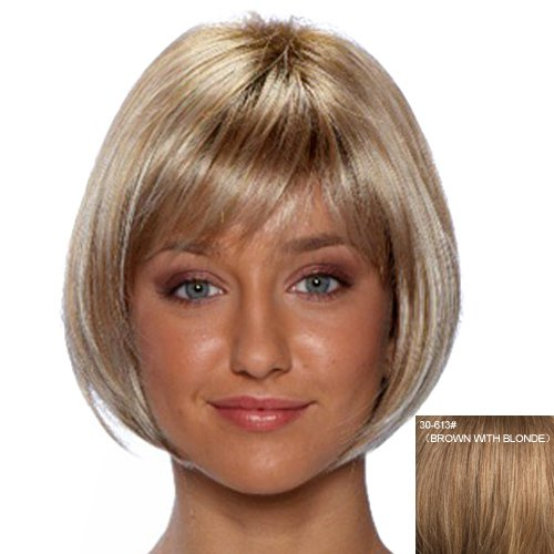 Fashion Side Bang Human Hair Side Bang Straight Wig For Women - BROWN/BLONDE