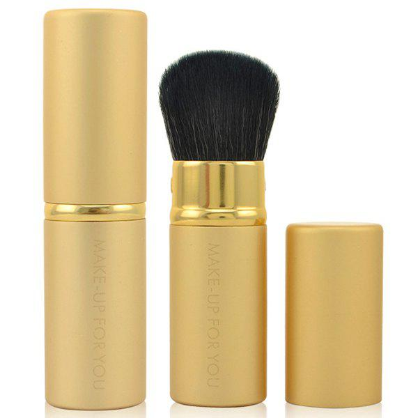 Cosmetic Multifunction Golden Telescopic Design Lid Fiber Blush Brush