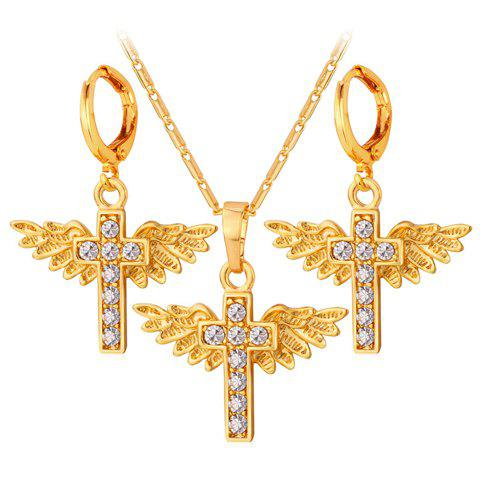 A Suit of Vintage Cross Wings Pendant Necklace and Earrings For Women